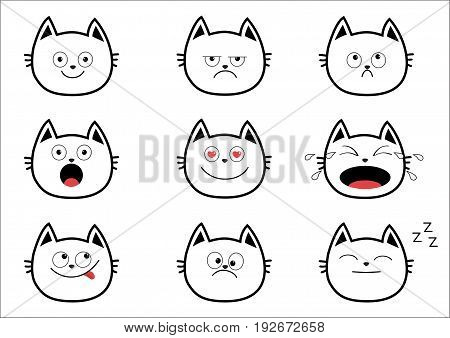 Cute black contour cat set. Funny cartoon characters. Emotion collection. Happy surprised crying sad angry smiling. White background Isolated. Flat design Vector illustration