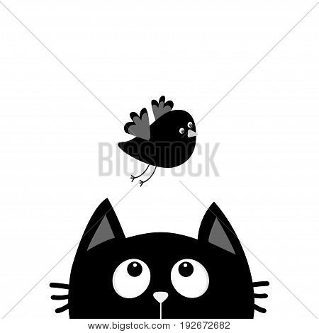 Black cat face head silhouette looking up to flying bird. Cute cartoon character. Kawaii animal. Baby card. Pet collection. Flat design style. White background. Isolated. Vector illustration
