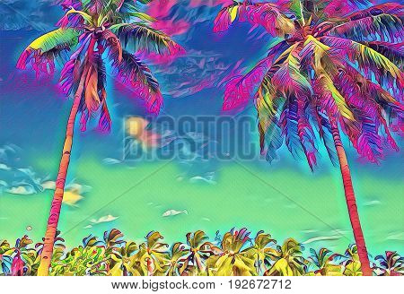 Fantastic tropical scene with palm tree. Sunny day on exotic island. Beautiful tropical nature. Coco palm tree crown on sky. Palm tree leaf digital illustration. Tropic scene with coconut palm