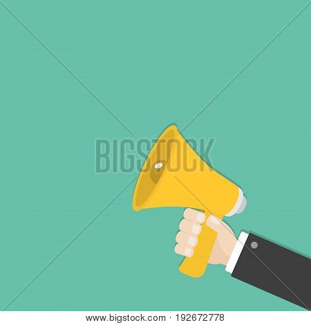 Businessman hand holding megaphone speaker loudspeaker icon. Announcement sign symbol. Flat design. Yellow color. Right corner template. White background. Isolated. Vector illustration