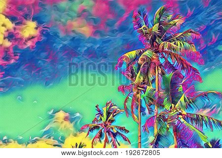 Fantastic tropical banner with palm tree. Sunny day on exotic island. Coco palm forest banner template with text place. Palm tree leaf rainbow digital illustration. Tropic scene with coconut palm
