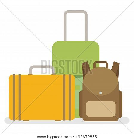 Baggage luggage suitcases. Flat style vector illustration.
