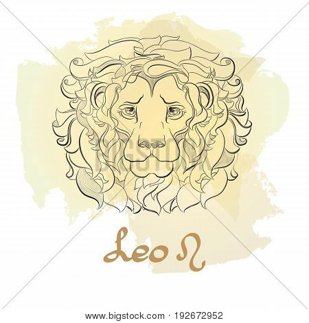 Hand drawn line art of decorative zodiac sign Leo on white background. Horoscope vintage card in doodle style with handwritten word.