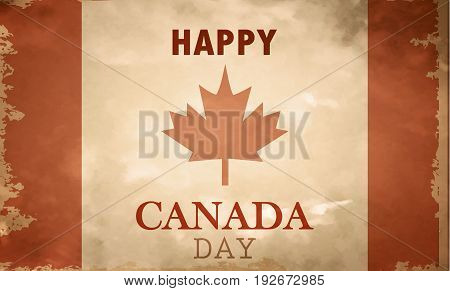 Happy Canada Day retro card in vector on grange canadian flag background