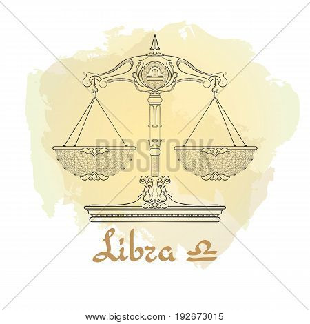 Hand drawn line art of decorative zodiac sign Libra on white background. Horoscope vintage card in doodle style with handwritten word.