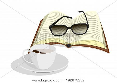 Morning still life: cup of coffee with cream on a saucer, glasses and book, isolated on white background, vector illustration