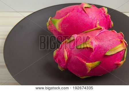 Pitaya or Pitahaya is the fruit of several cactus  image closeup