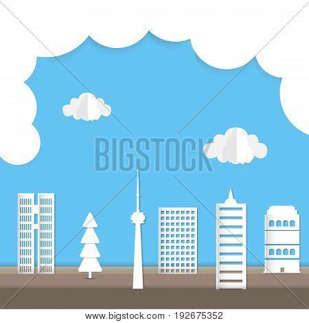 Cityscape paper art style business concept. Vector illustration