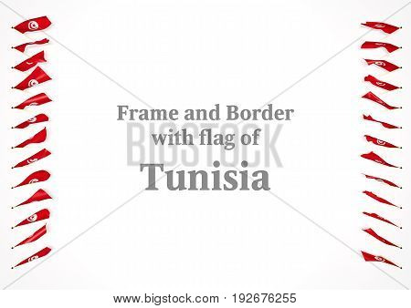 Frame And Border With Flag Of Tunisia. 3D Illustration