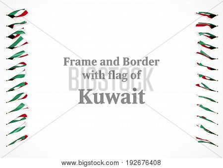 Frame And Border With Flag Of Kuwait. 3D Illustration