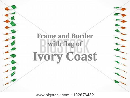 Frame And Border With Flag Of Ivory Coast. 3D Illustration