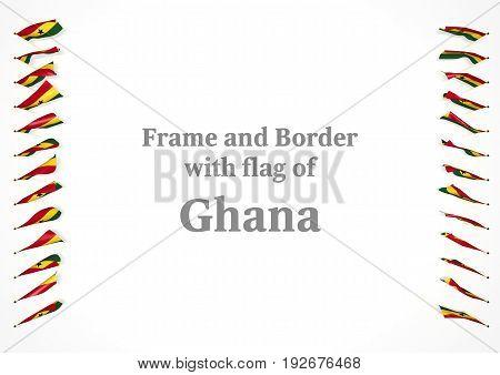 Frame And Border With Flag Of Ghana. 3D Illustration
