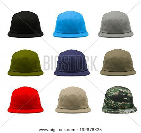 Blank 5 panels jockey camper cap 9 set on white background