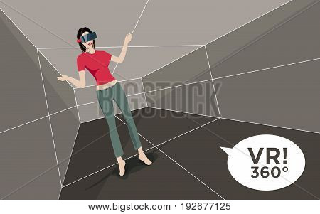 Virtual Reality Room With Woman And 3D Glasses