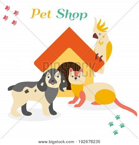 Bright images of domestic animals parrot, dog and ferret. Can be used for pet shops, clinics, pet food advertising.