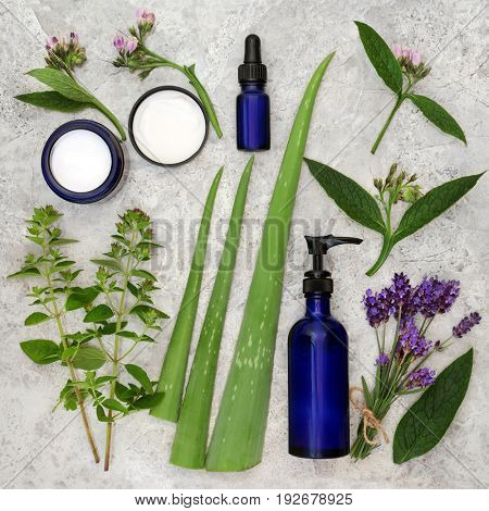 Herbs, cream and oils to heal skincare disorders with comfrey, marjoram, aloe vera and lavender.