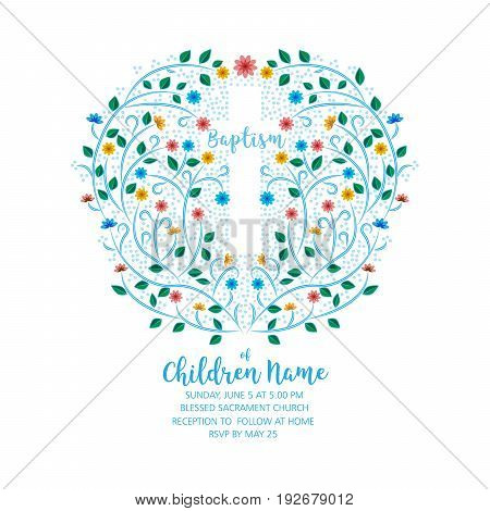 Baptism Christening Invite - Invitation Template with Cross and Flowers Floral Wreath