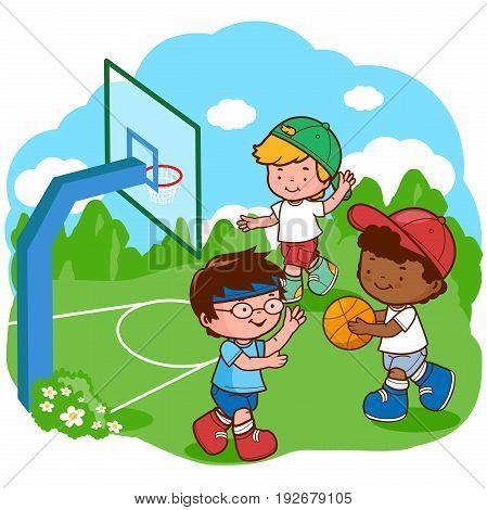 Three happy boys playing basketball. Vector illustration