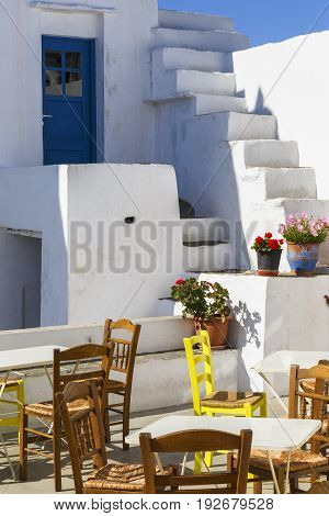 ARTEMONAS, GREECE - MAY 20, 2017: Typical Cycladic architecture in Artemonas village on Sifnos island in Greece on May 20, 2017.