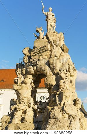 View of historical statue in Zelny trh square city Brno czech republic .