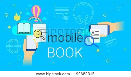 Mobile book and electronic library app on smartphone concept vector illustration. Human hands hold smart phone with ebook app for reading interesting books and education. E-book sync and cloud storage