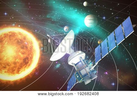 Low angle view of 3d solar power satellite against graphic image of various planets with sun