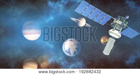 Vector image of 3d modern solar satellite against composite image of planets over sun
