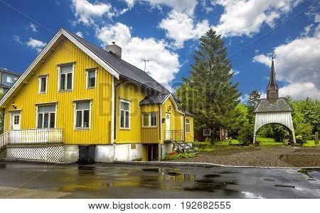 View Of Typical Norwegian Houses In Sortland.