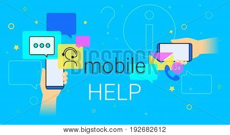 Mobile help and online support on smartphone concept illustration. Human hands hold smart phone with app for chatbot assistance and emergency support. Creative costumer helpdesk banner blue background