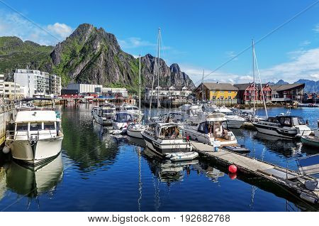 Scenic View Of The Waterfront Harbor In Svolvaer In Summer.