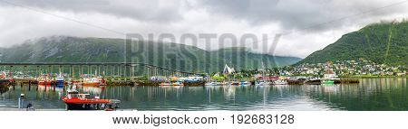 View Of A Marina In Tromso, North Norway.