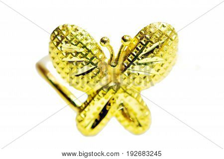 Gold Pendant Cameo Fancy Ring Jewelry In Butterfly Shape Isolated On White