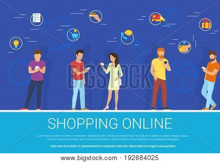 Shopping online concept vector illustration of group of people using mobile smartphone for choosing, online ordering and purchasing goods via mobile app. Flat guys and women with ecommerce icons