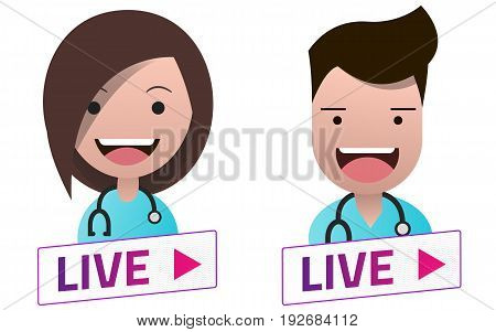 Live Stream white sign with Doctors avatar set. Emblem logo badge. Flat design. Template for citybanner website design cover. White background. Illustration. Eps10.