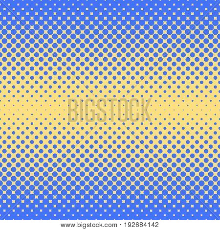 Halftone abstract background of circular elements in blue and complement colors and in the direction from the sides to the center vertically
