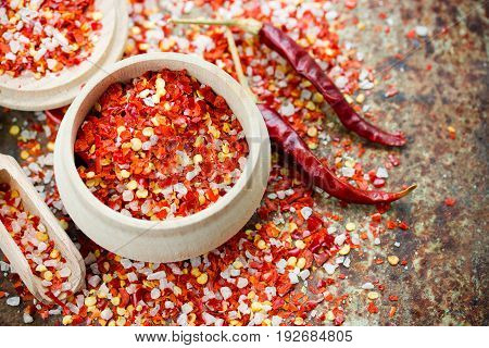 Chili salt - seasoning mix from dried red pepper flakes and sea salt