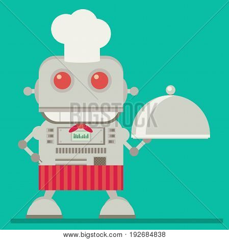 Robot chef isolated on background. Flat vector illustration
