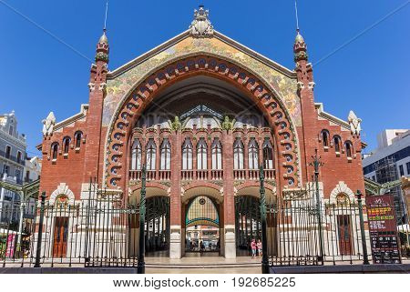 VALENCIA, SPAIN - JUNE 12, 2017: Facade of the Mercado Colon market hall in Valencia, Spain