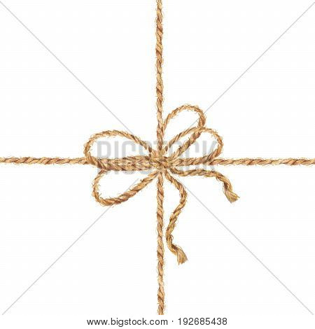 Watercolor hand drawn background with the bow-knot of the rope. Tie boxes for gifts. Jute rope with bow watercolor. Twine. Isolated illustration on white background.
