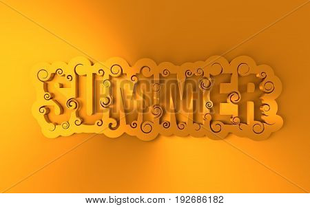 Lettering illustration with word summer. Typography poster with abstract ornament of curls. 3D rendering