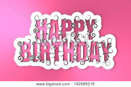 Lettering illustration with Happy Birthday text. Typography poster with abstract ornament of curls. 3D rendering