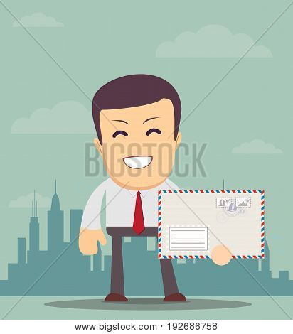 Business man holding envelope on background. for use in presentations. Vector