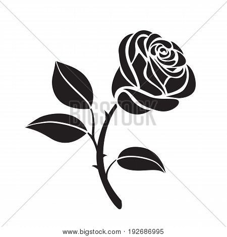 Abstract Flower rose vector outline icon. Creative Luxury Fashion logotype concept icon. Rose logo