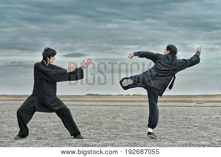 Kung Fu Fighting, Outdoors Image, Toned Image, Horizontal Image