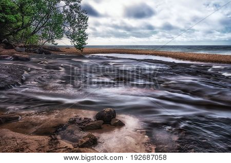 Hurricane river meets Lake Superior in Upper Michigan