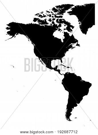 Land silhouette map of Americas, North and South America, isolated on white background. Vector illustration.