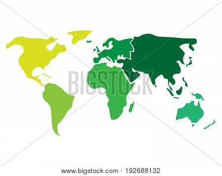 Vector y foto multicolored world map divided six bigstock multicolored world map divided to six continents in different colors north america south america gumiabroncs Image collections