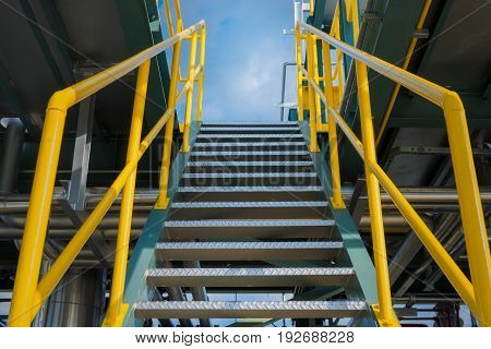 Structure steel of staircase in oil refinery plant.