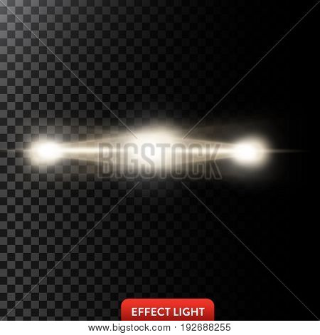 Vector illustration of a two golden light rays, a light beams, a glow effects, an explosion, a flash on a black background. Design element