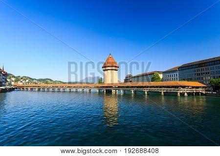 View at the Chapel bridge over Reuss river in Luzern (Lucerne) Switzerland.